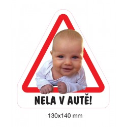 Magnet Dítě v autě - vlastní foto a text