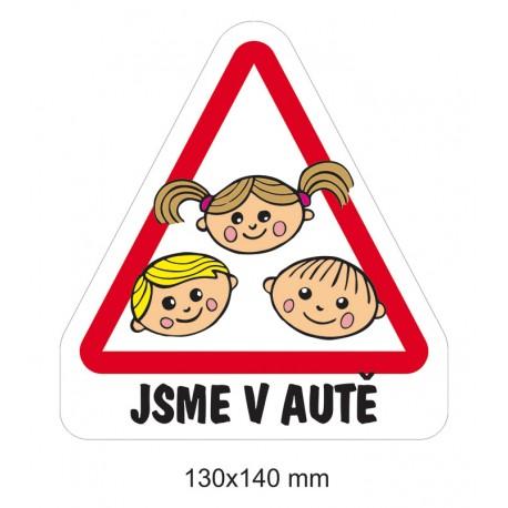 Samolepka Dítě v autě - Trojčátka